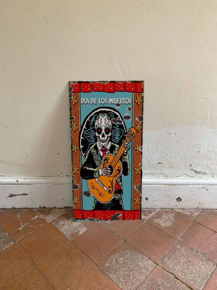 Halloween Day Of The Dead Skull  -  Metal Wall Sign